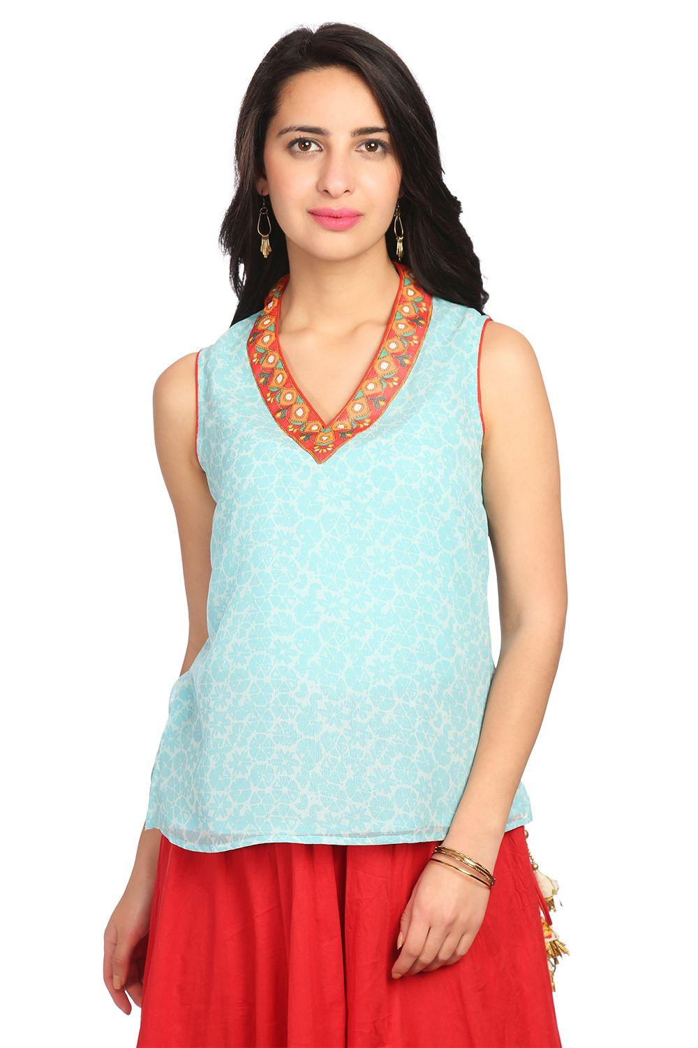 Turquoise Straight Poly Cotton Top - ARTNOUV13578S