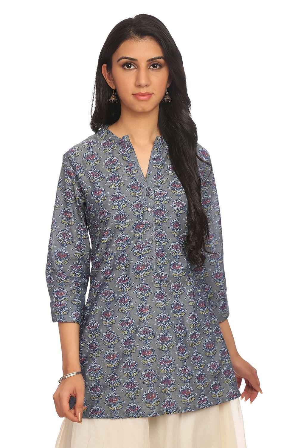 Grey Cotton Straight Kurta_Large