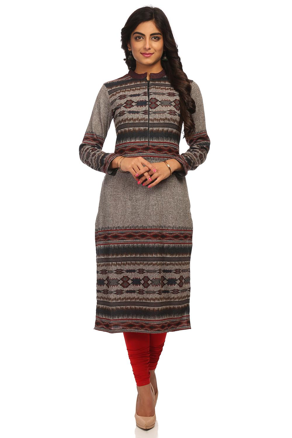 Grey Straight Poly Cotton Kurta - ASSORTED12935AW1