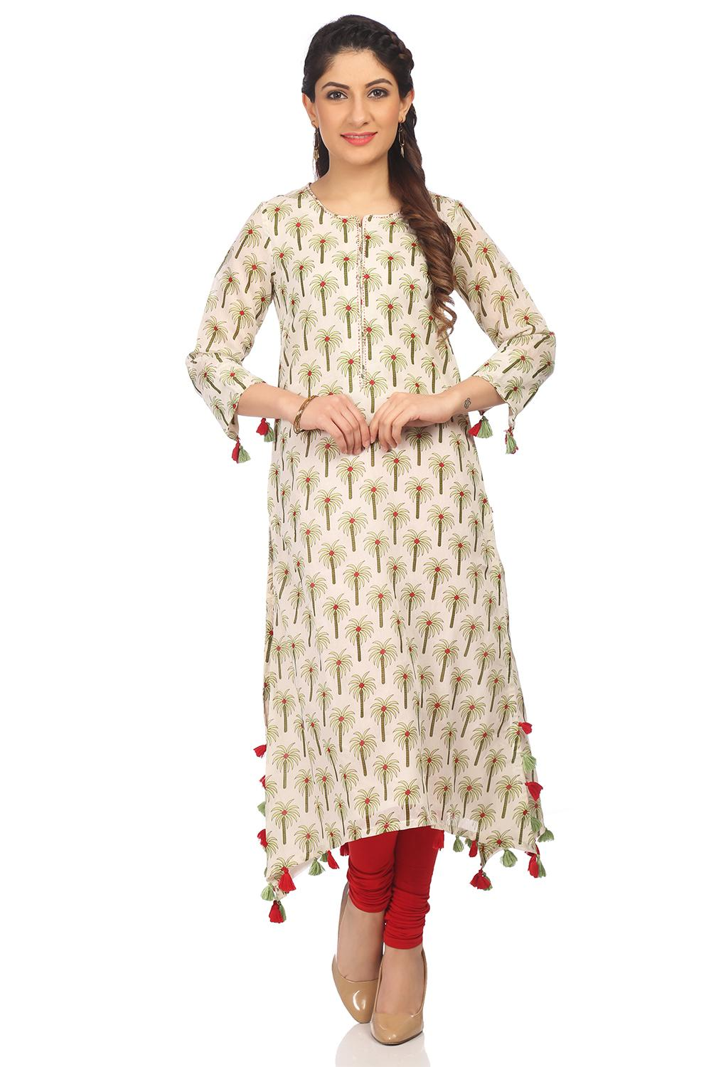 Off White Flared Poly Cotton Kurta - CAFEPIN13691S