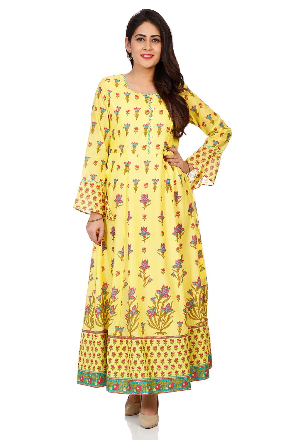 Lemon Yellow Cotton Kalidar Kurta - CAFEPIN14506AW
