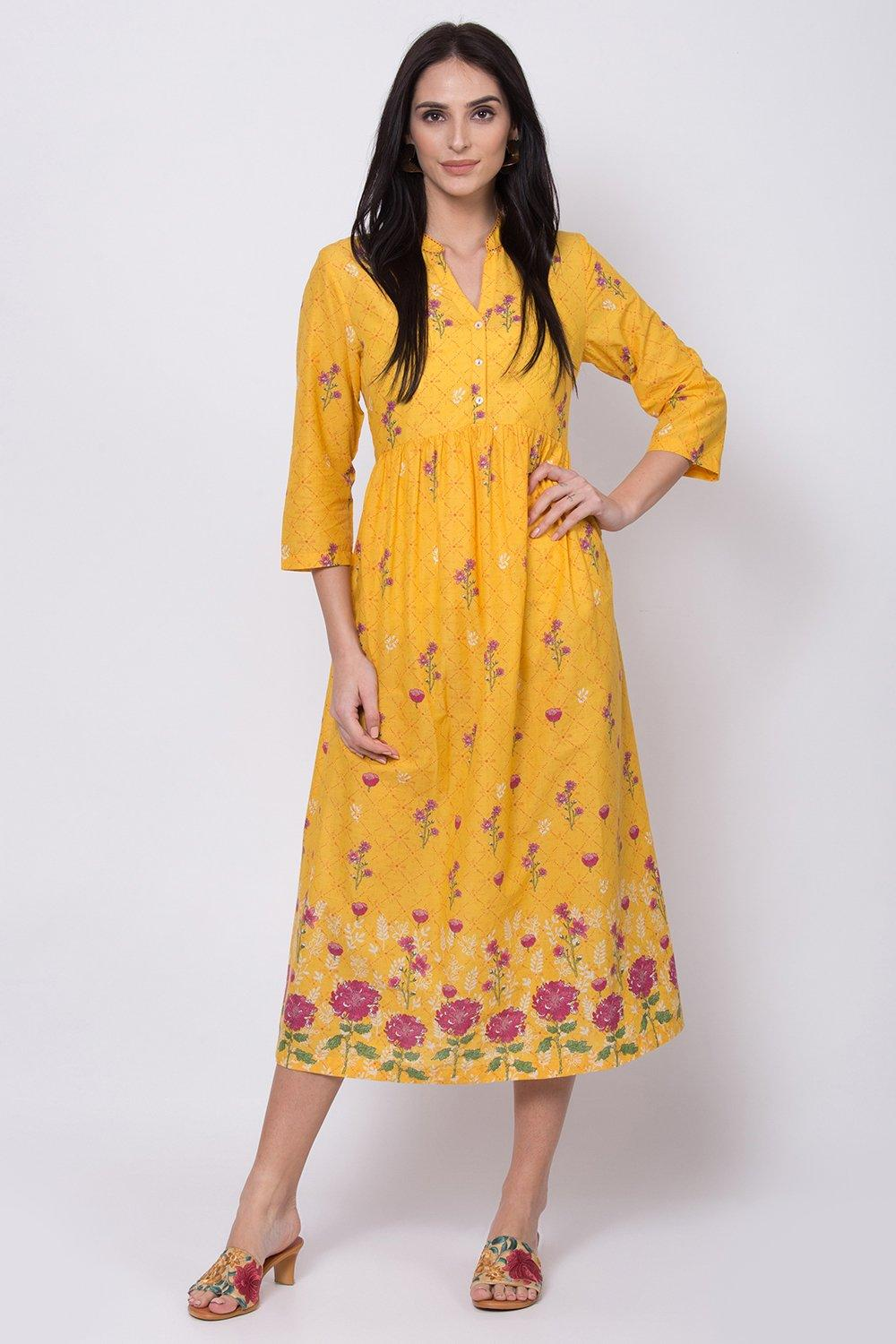 Yellow Cotton A Line Kurta