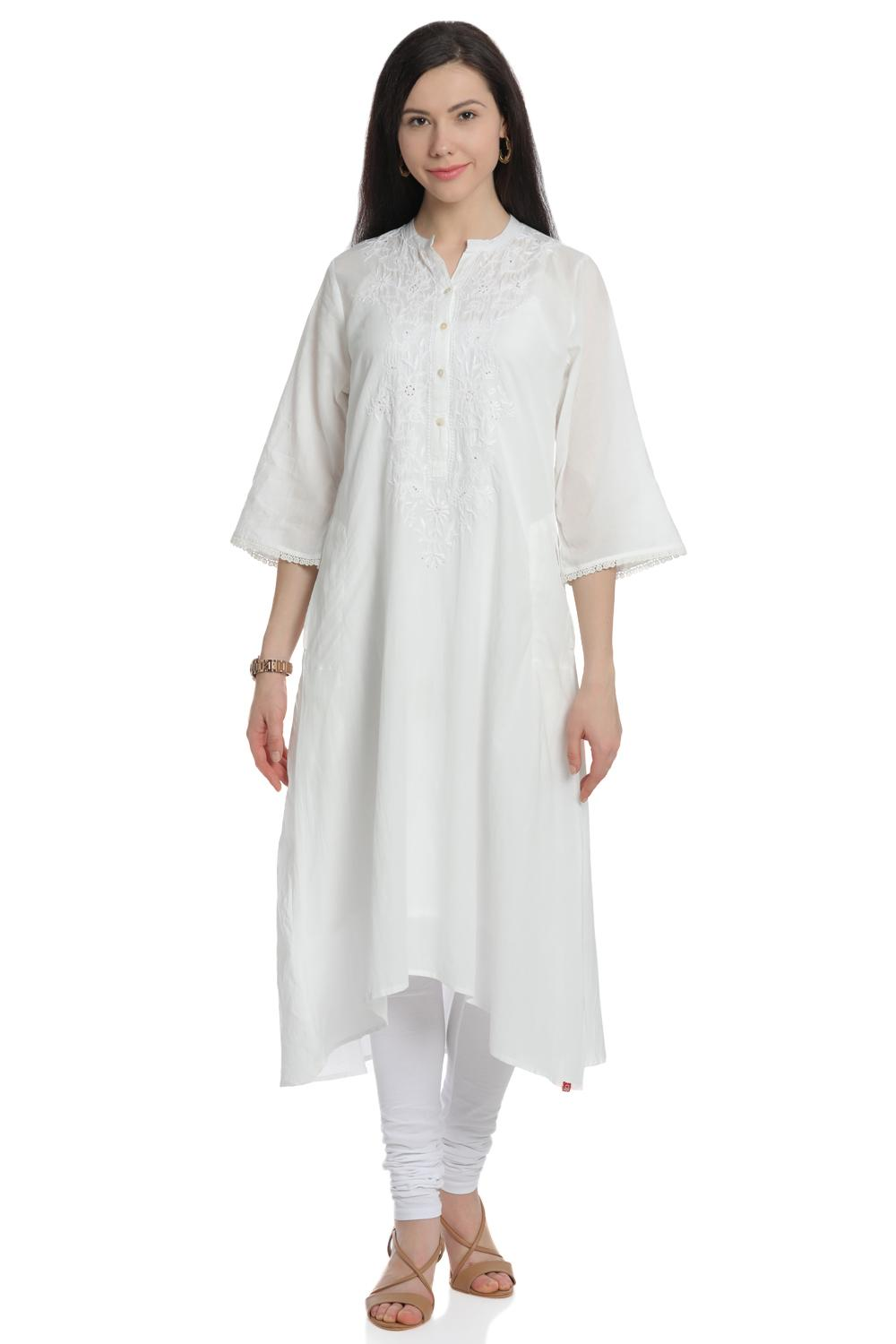 Off White A-Line High Low Cotton Kurta - CHIKANKA1