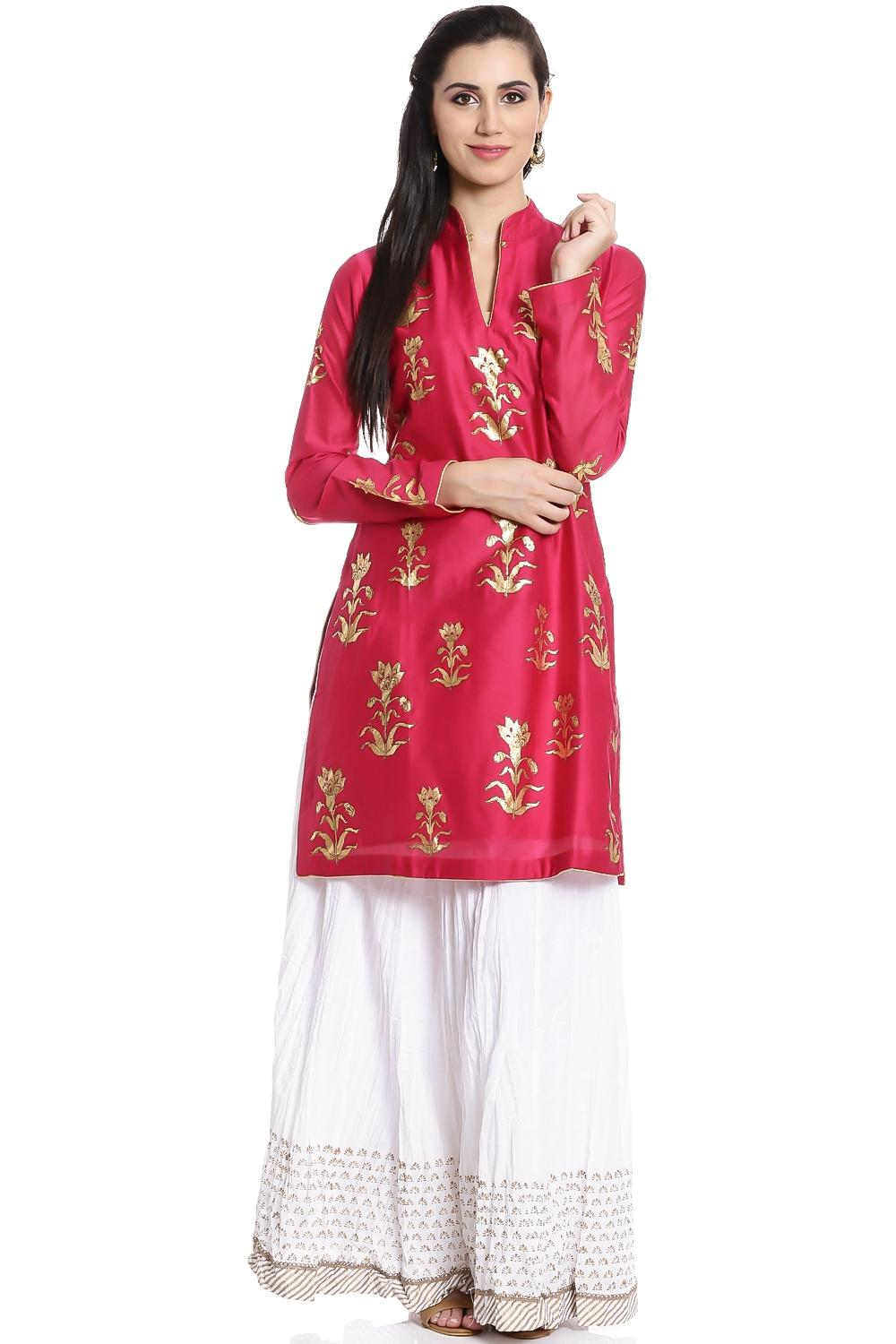 Gold & Fushia Straight Cotton Kurta -