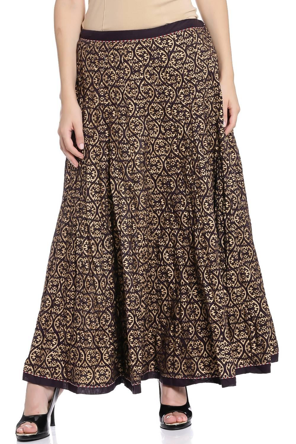 Brown & Golden Cotton Skirt - CORE13340AW17BRNGLD