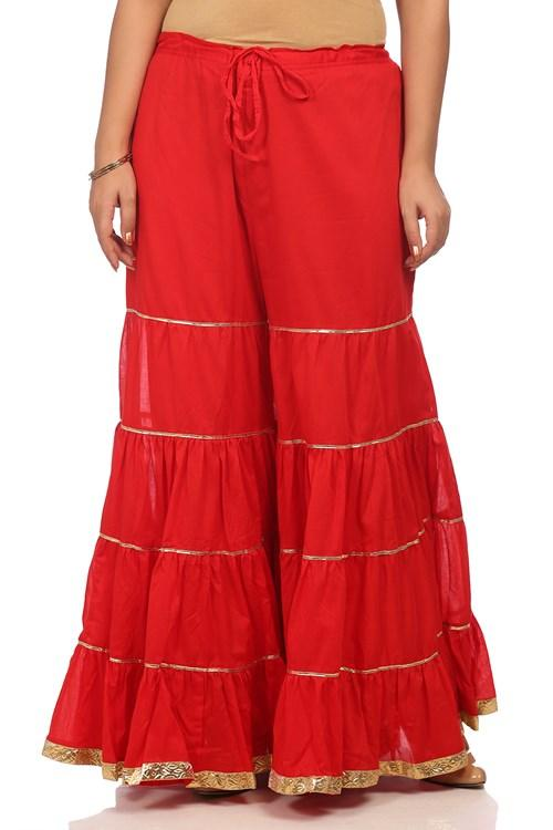 Red Cotton Flared Sharara Pants - CORE14486AW18RED