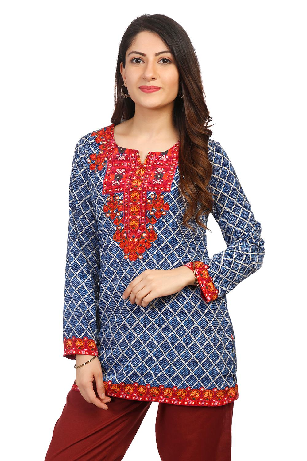 Blue Art Silk Straight Kurti - CREPEKU14571AW18BLU