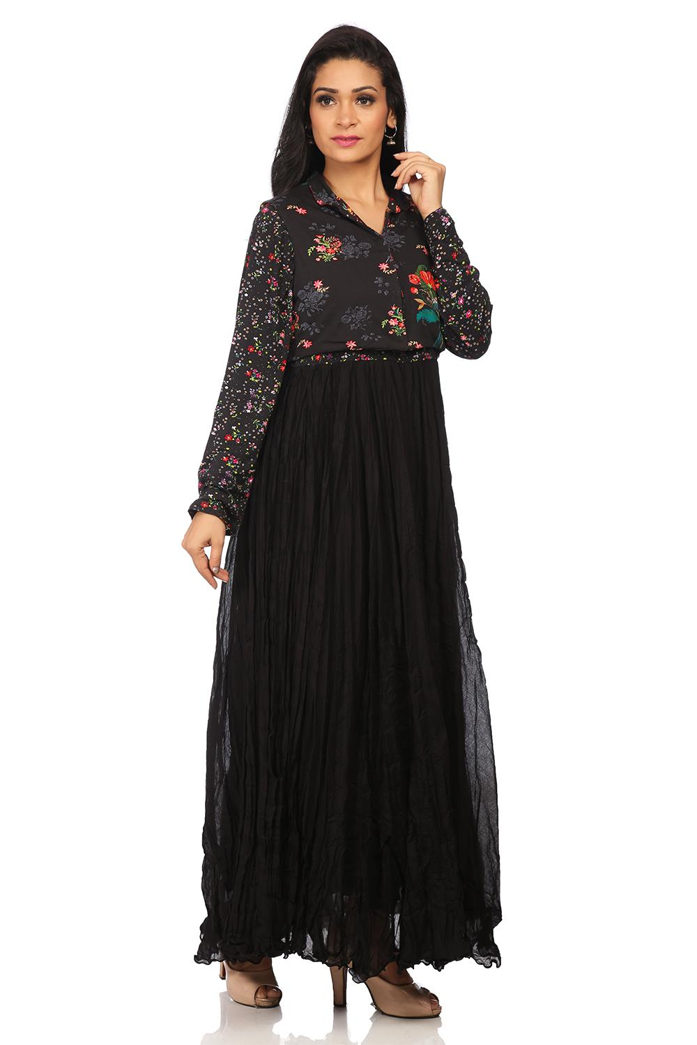 Black Anarkali Cotton Kurta - EDENGAR13258AW17BLK