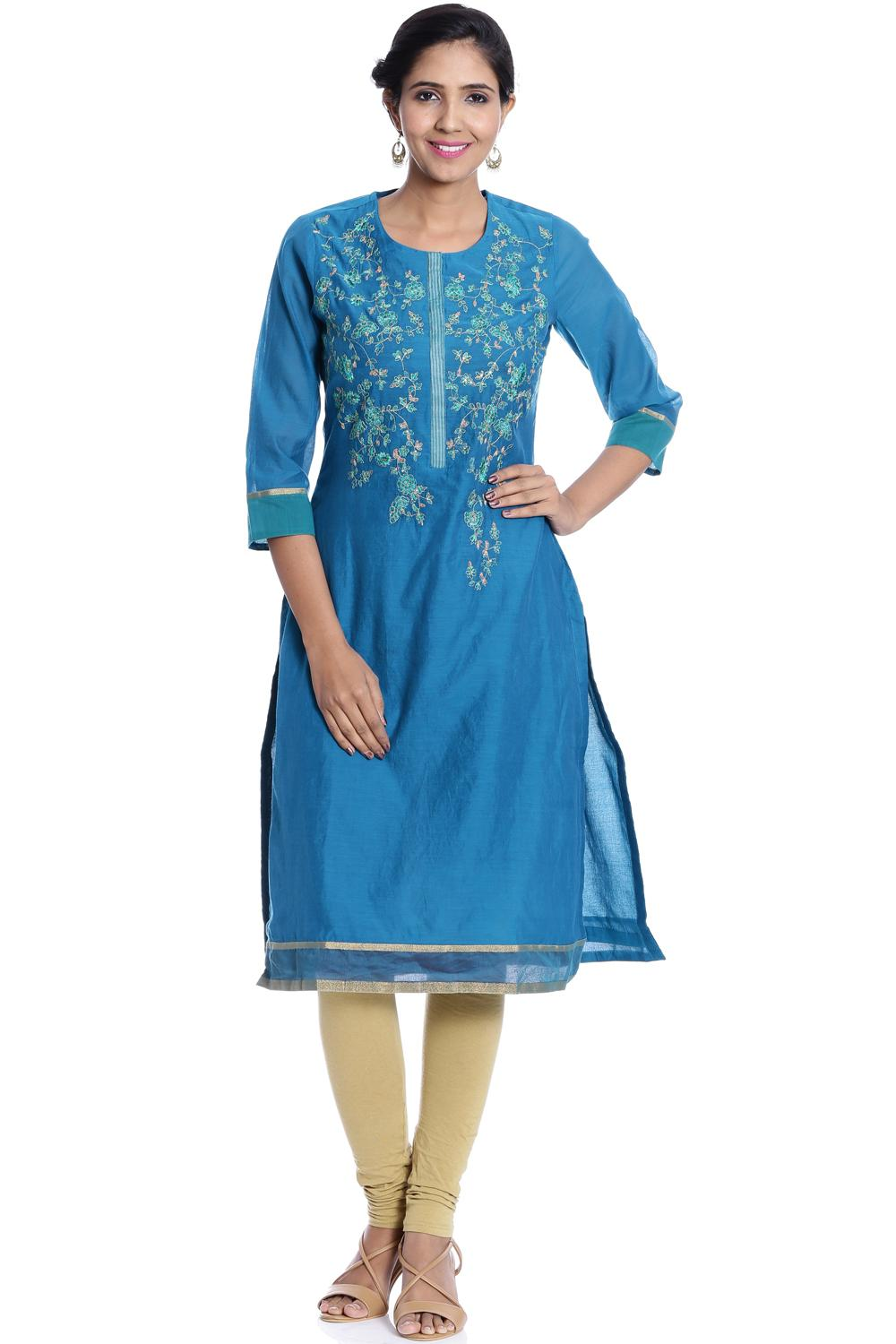Turquoise Straight Poly Cotton Kurta - FESTIVE1281