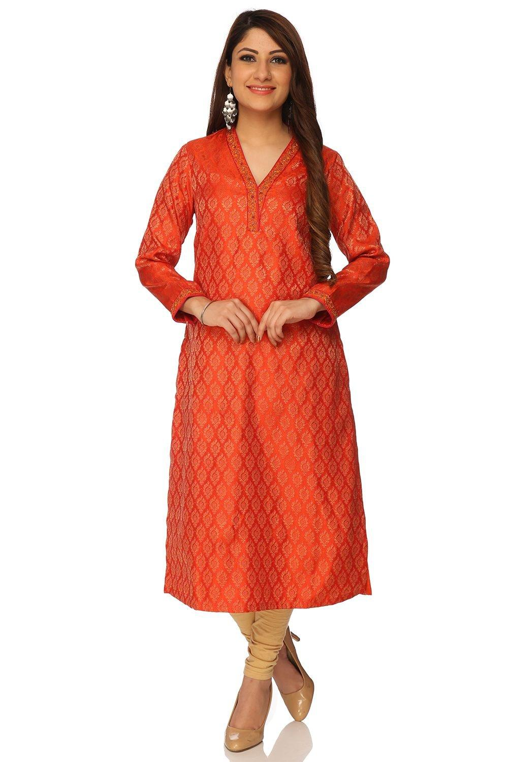 Orange Straight Poly Mettalic Kurta - FESTIVE13233