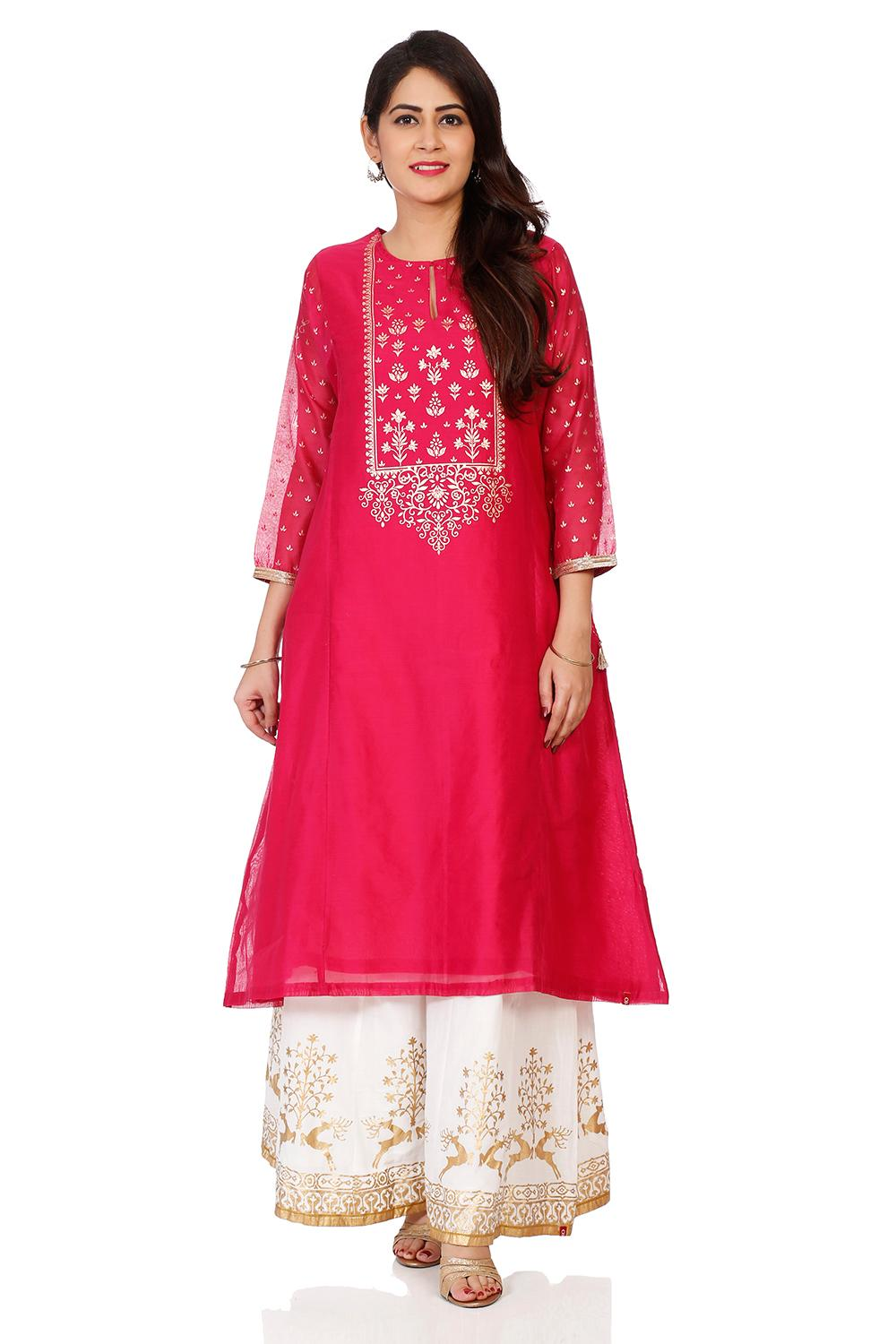 Fuchsia Poly Cotton Flared Kurta - FESTIVE14101AW1
