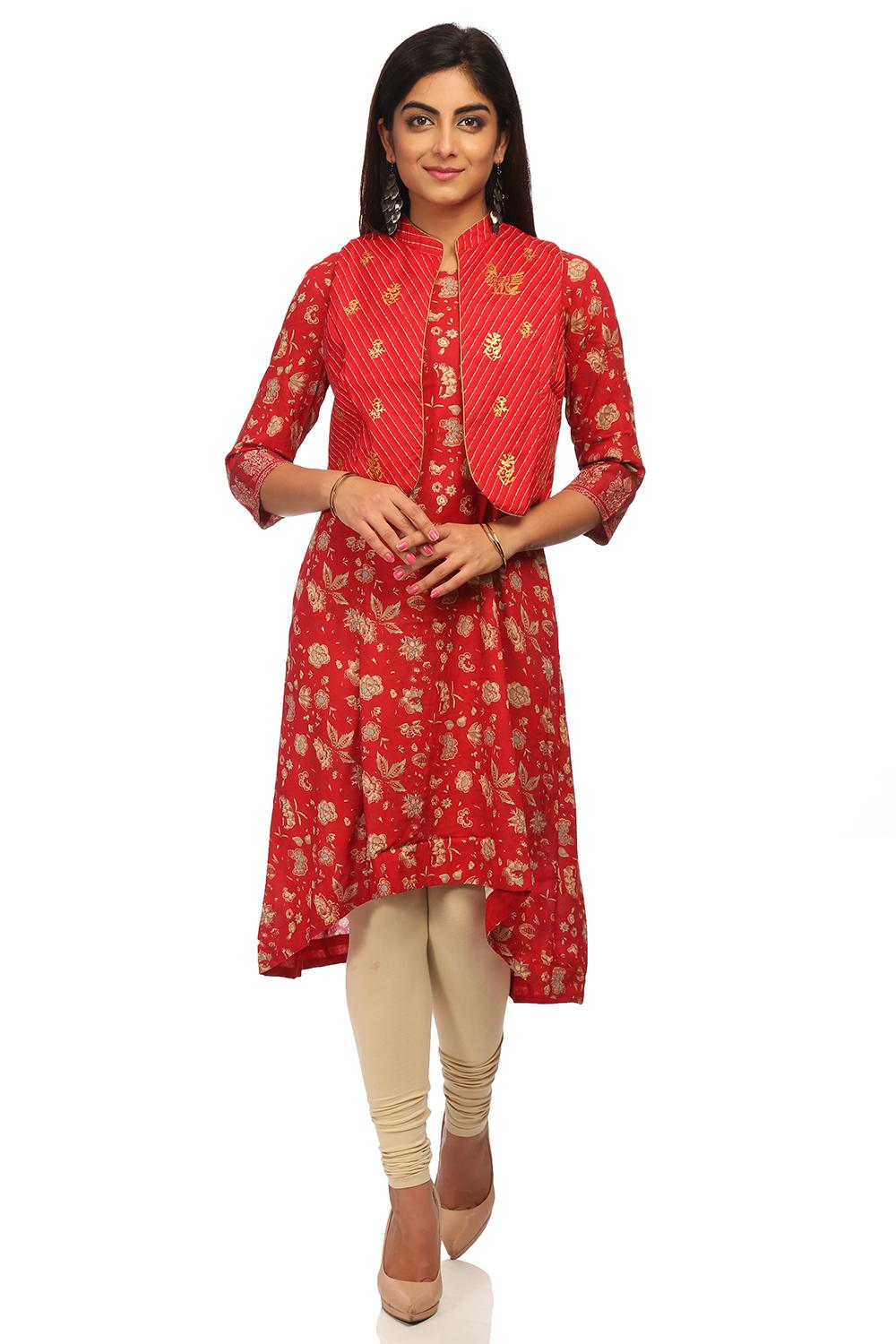 Red Asymmetric Viscose Kurta - GOLCONDA12959AW17RE