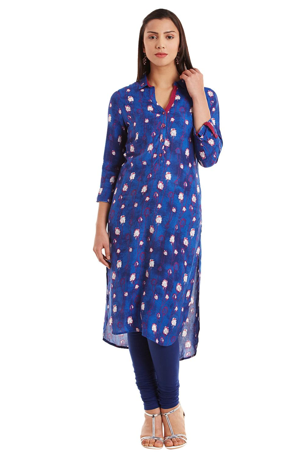 Indigo Viscose Straight Kurta_Large