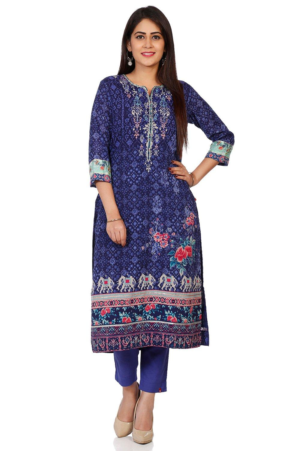 Indigo Art Silk Straight Kurta - INDIGO14138AW18IN