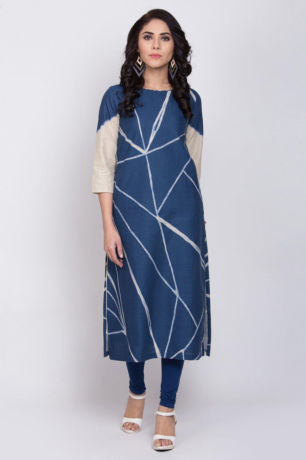 Indigo Cotton Straight Kurta