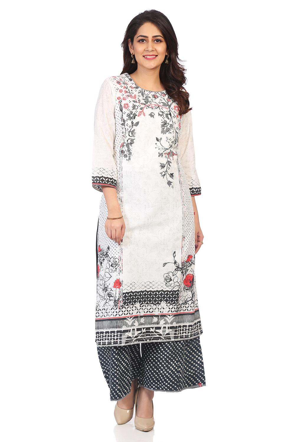 White & Black Straight Cotton Kurta - INTOTHE13533