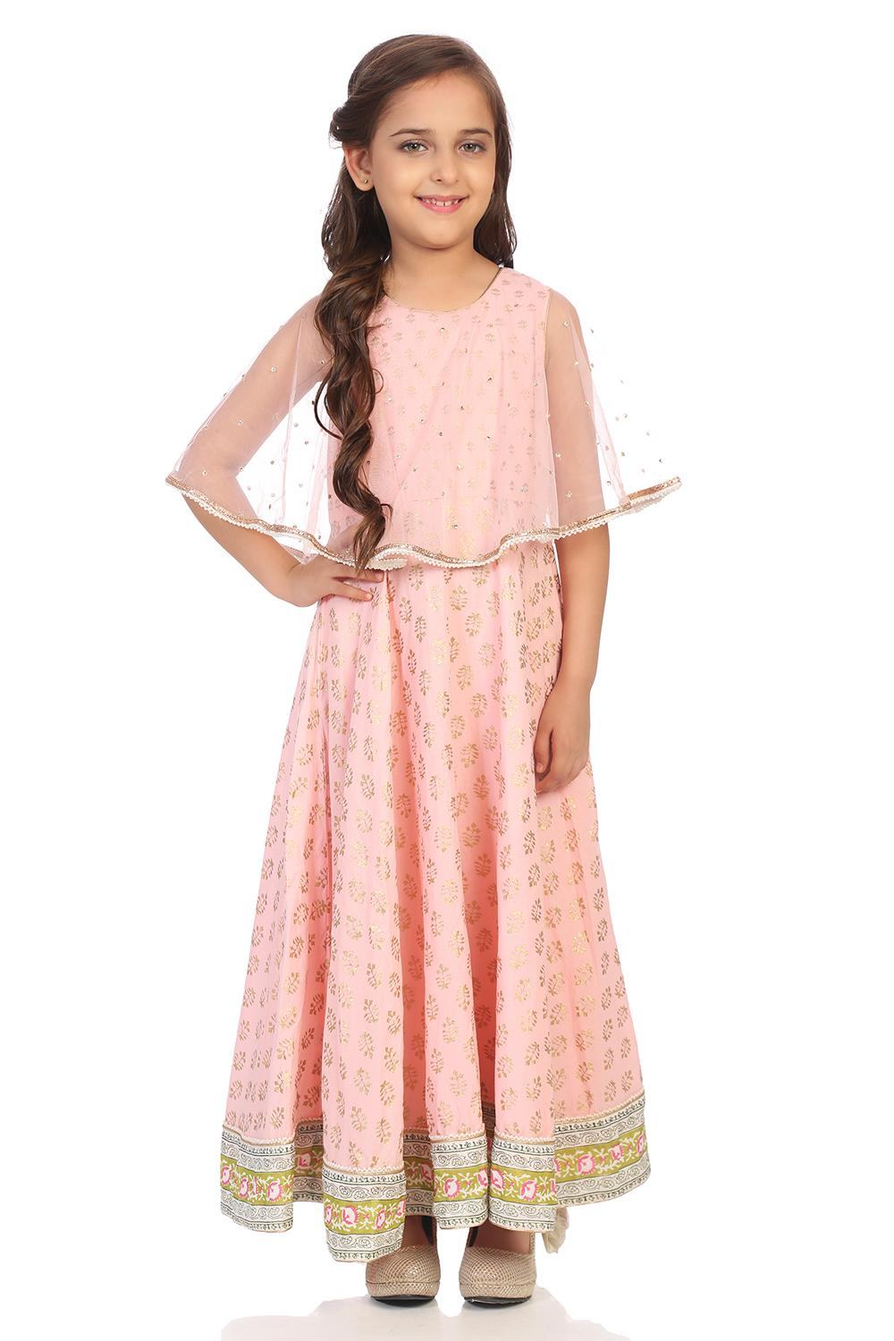 Light Pink Nylon Anarkali Dresses - KW2885AW18LTPN