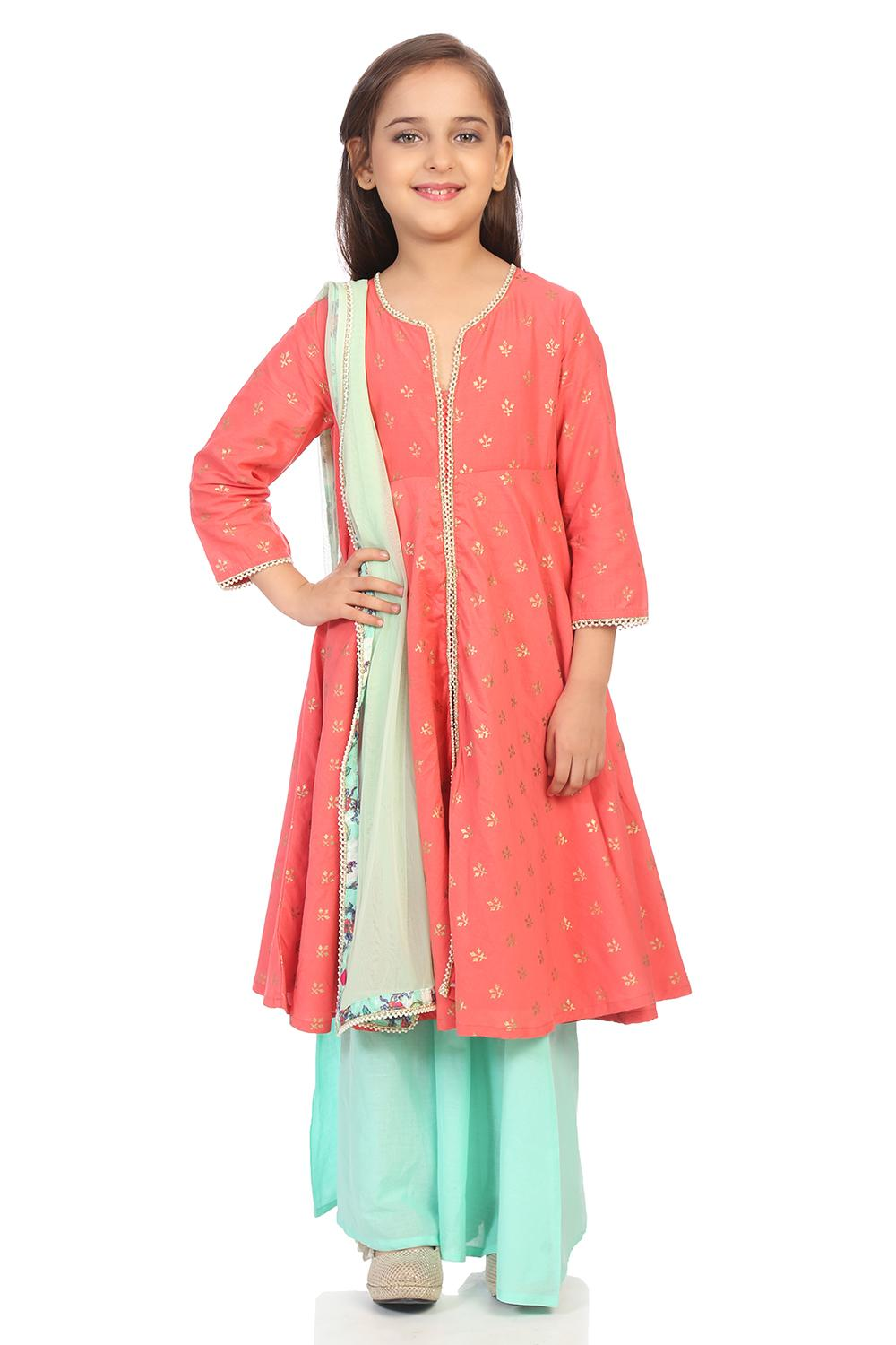 Coral Cotton Straight Suit Set - KW2889AW18CORAL