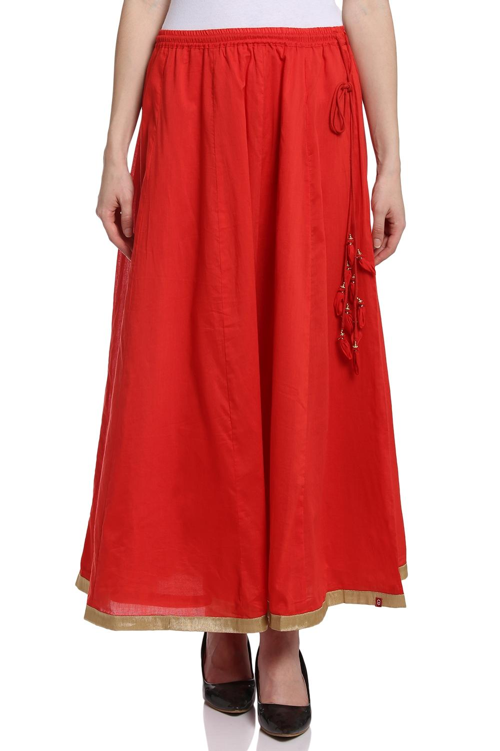 Red Flared Cotton Skirt - MNMCORE14556SS18RED
