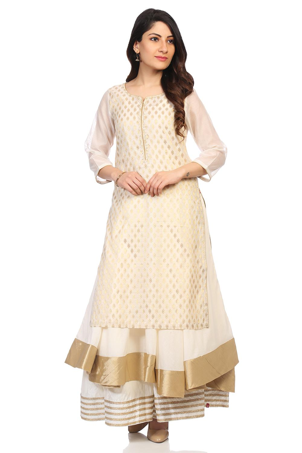 Off White Poly Metallic Cotton Flared Kurta - ONAM