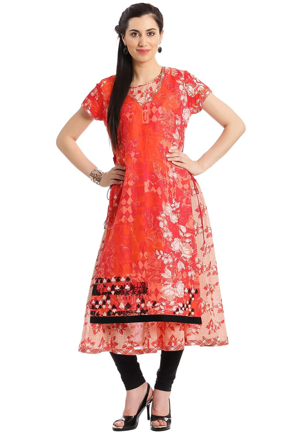 Red & Orange Cotton Flared Kurta - PACKOF12760REDO