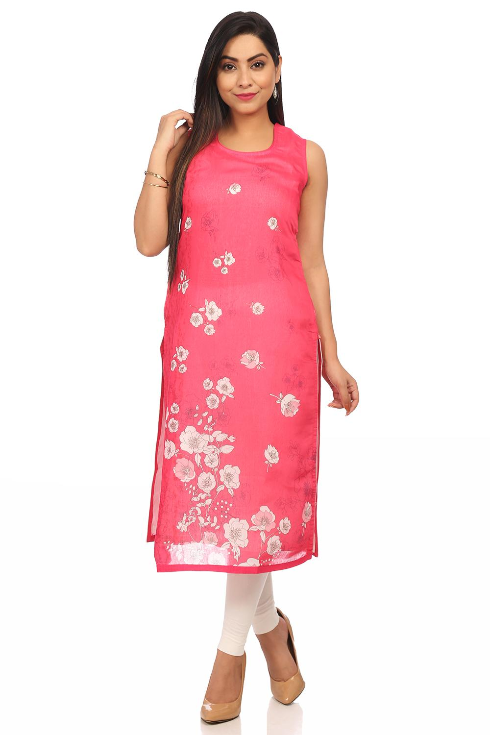 Pink Straight Art Silk & Cotton Kurta - PRETTYP138