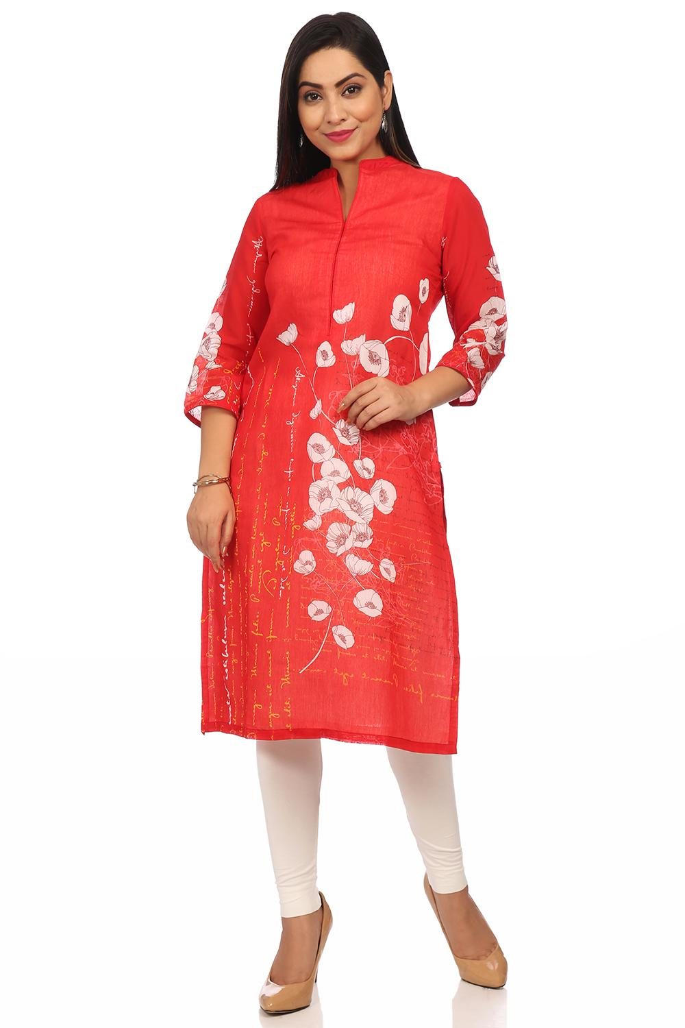 Red Straight Art Silk & Cotton Kurta - PRETTYP1381