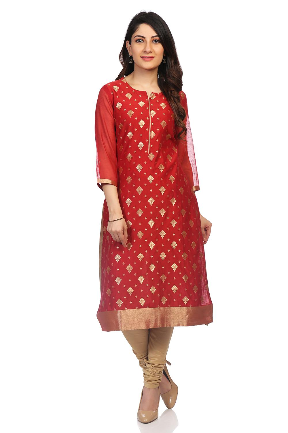 Red Poly Metallic Cotton Straight Kurta - PUJACOL1