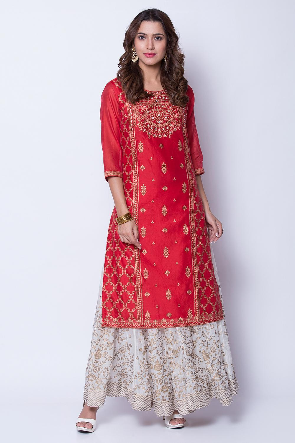 Red Poly Cotton Straight Kurta