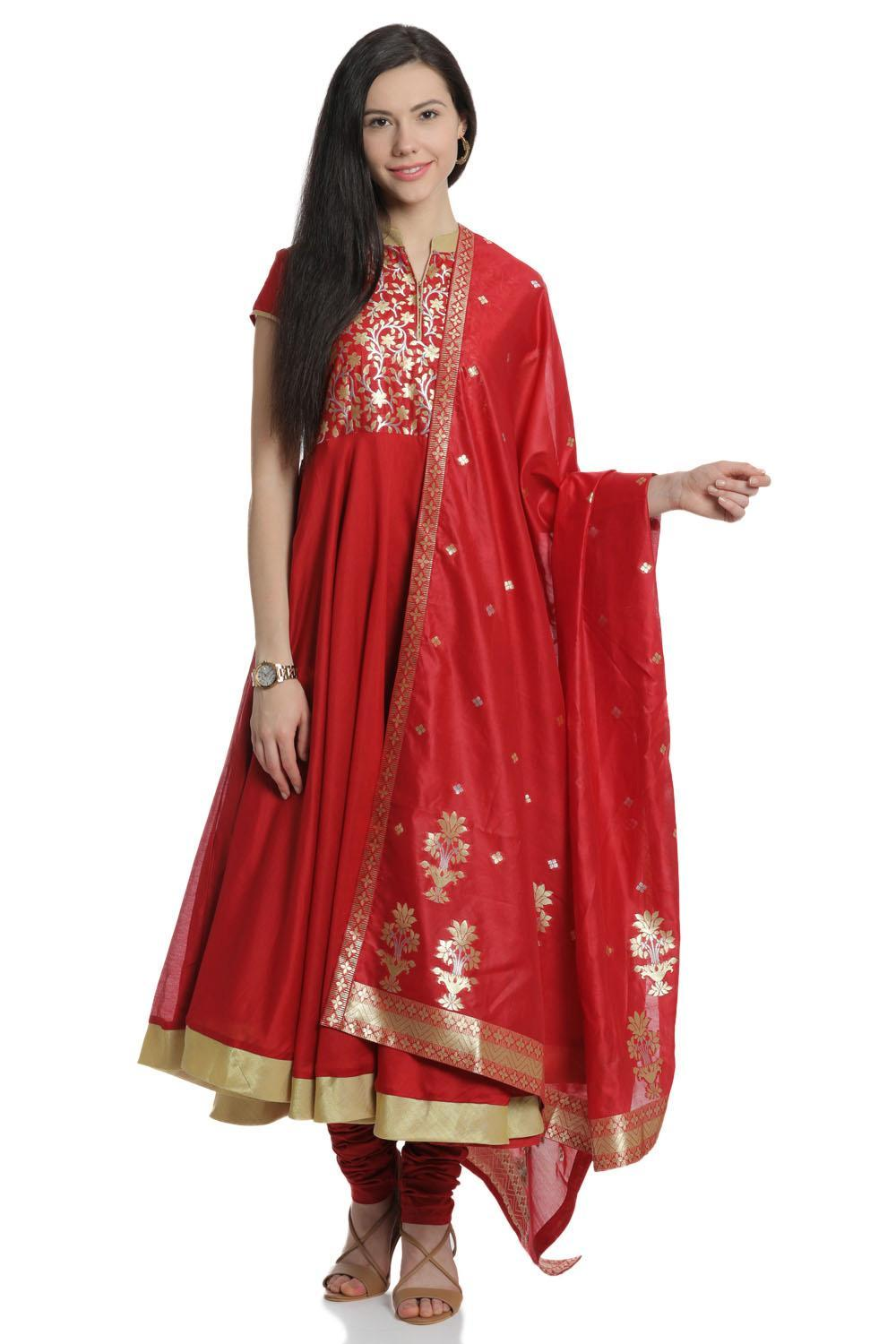 Red Anarkali Cotton Silk Suit Set - SKD5500SS18RED