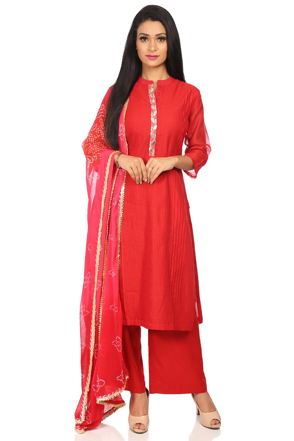 Red Poly Cotton Straight Suit Set - SKD5651AW18RED
