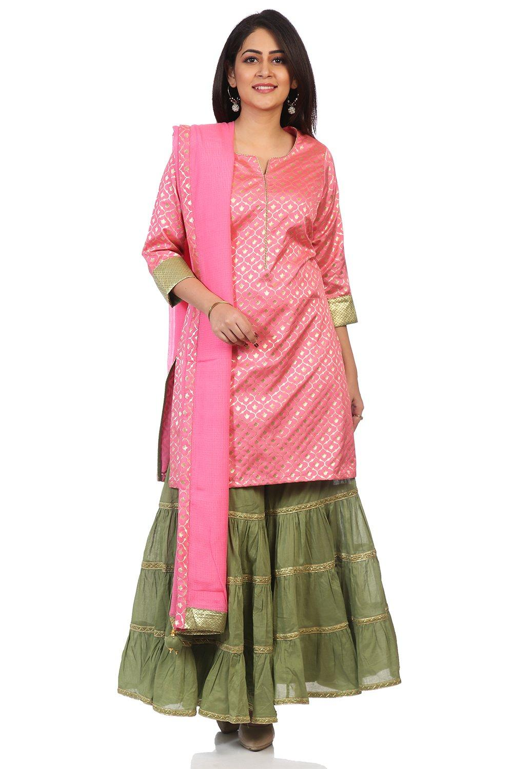 Pink Art Silk Straight Suit Set - SKD5698AW18PNK
