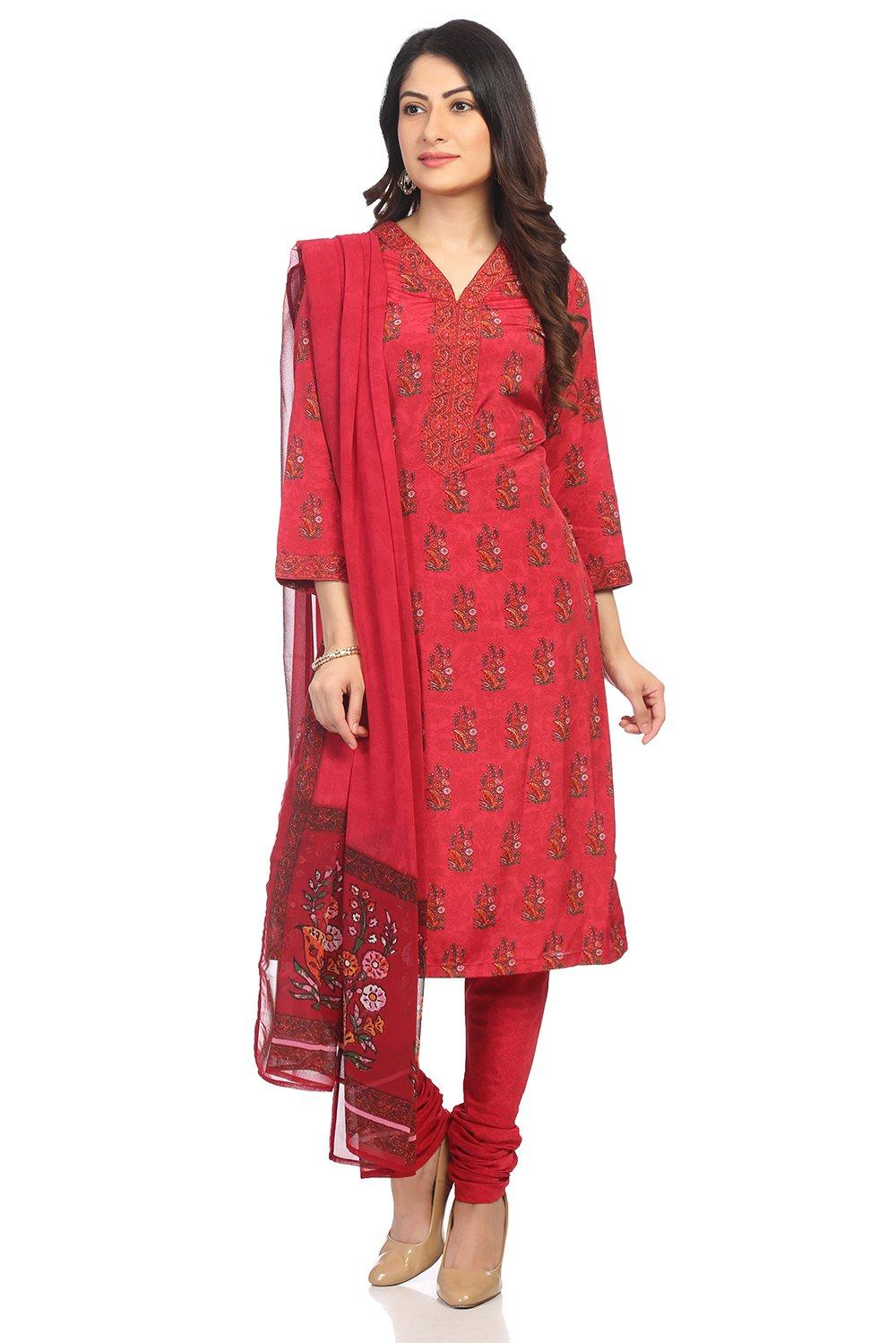 Red Art Silk Straight Suit Set - SKD5771AW18RED