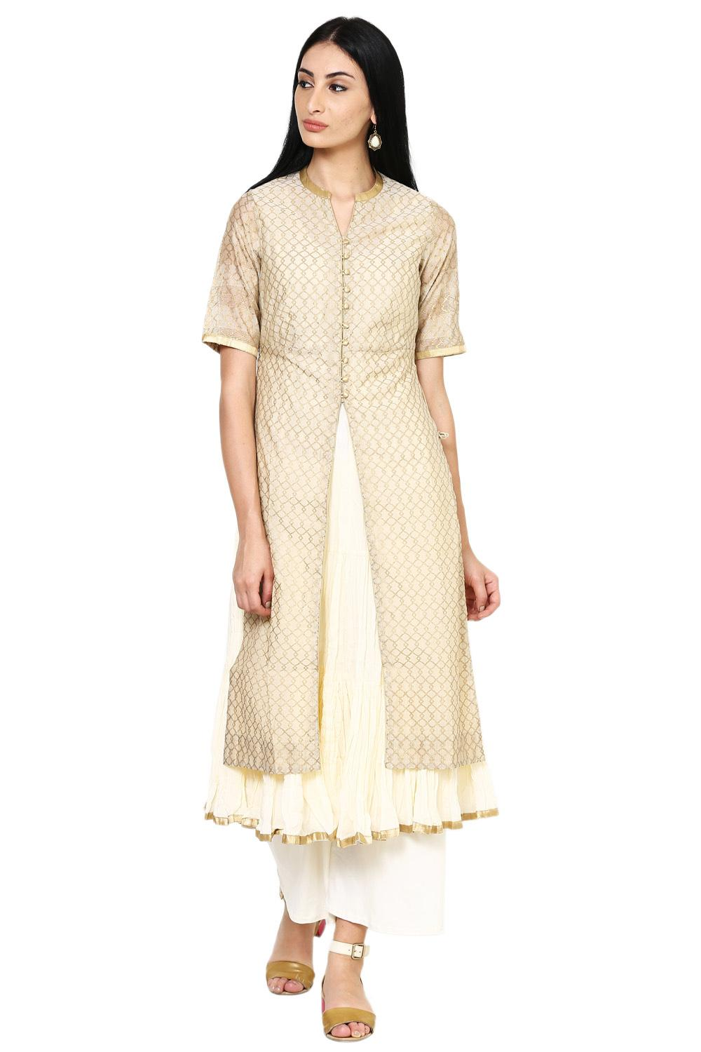 Beige Poly Cotton Front Open Kurta_Large