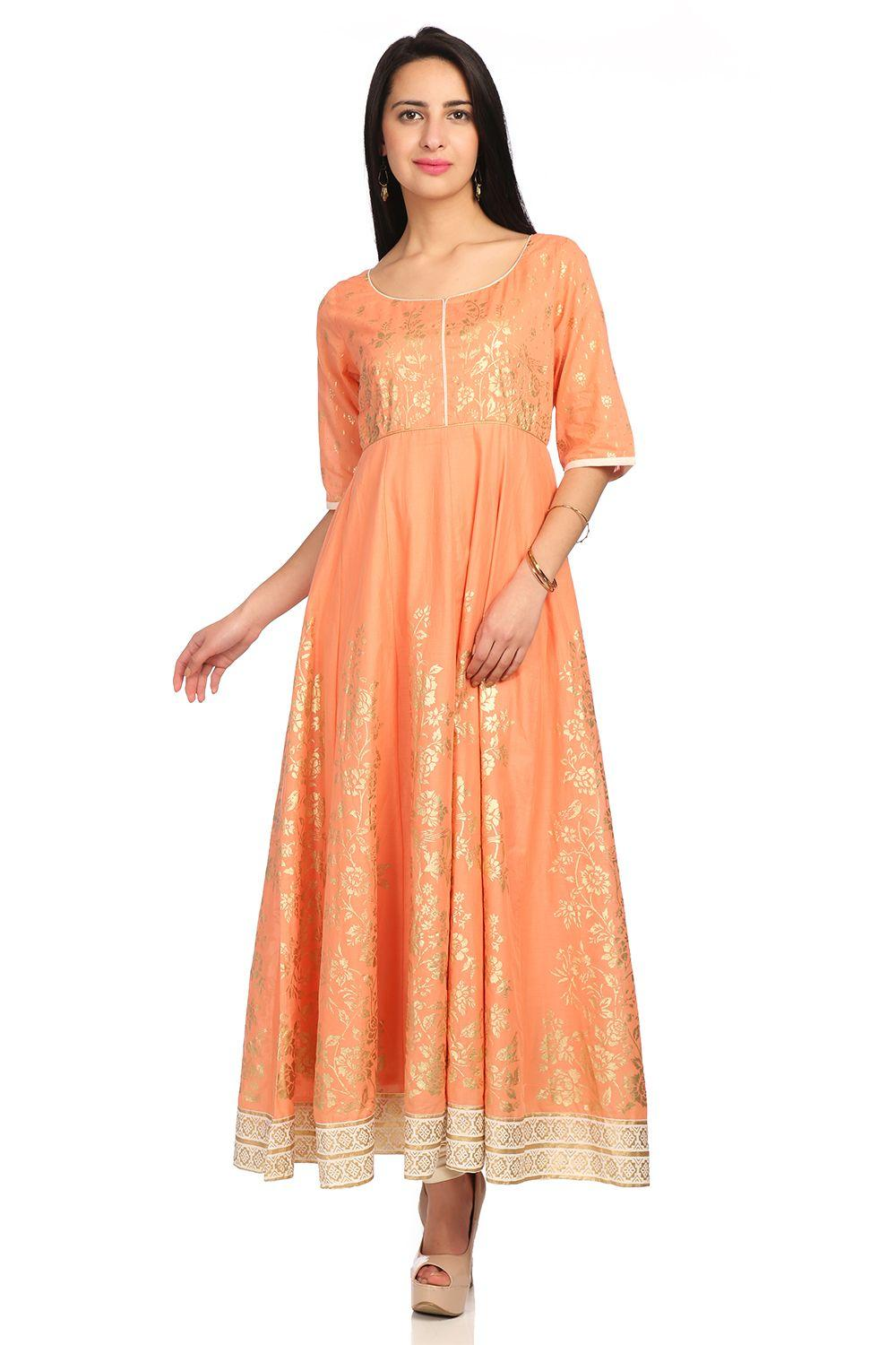 Coral Anarkali Metallic Cotton Kurta - SUMMERE1351