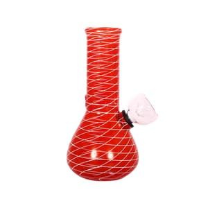Conical Red Jali Design Mini Glass Bong-5 Inch Onl