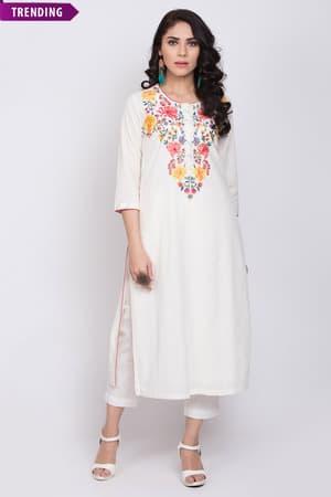 Indian Dress Kurti Women Indian Tunic Kurtis For Women Long Top Sea Green /& White Printed Straight Kurta For Women Ethnic Dress
