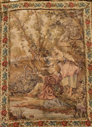 Odhanis, Textiles and Wall Hangings, Textiles, Our Collection, The Carpet Cellar, European Tapestry<br>A-2583<br>2.5x1.9 FT ,  Beige,Taupe,Brown,Forest Green,Maroon , 2.5x1.9 FT