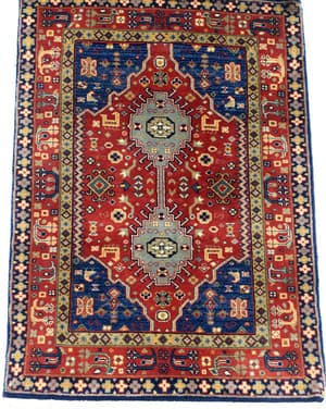 Wool Decorative Recreations, Antique Recreations, Carpets & Rugs, Our Collection, The Carpet Cellar, Indo- Shiraz <br>A-4111<br>3 Feet X 2.1 Feet , Red,Beige,Royal Blue,Olive Green,Black,Emerald Green,Ivory , 3 Feet X 2.1 Feet
