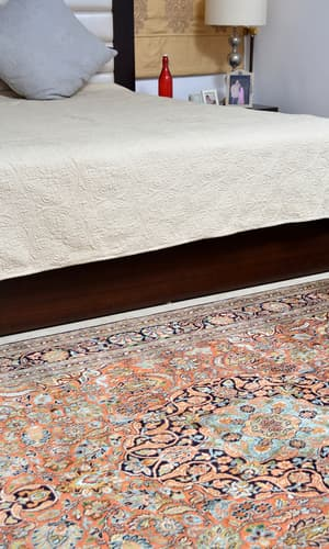 New Silk collection, Antique Recreations, Carpets & Rugs, Our Collection, The Carpet Cellar, Superfine Silk on Cotton Kashan<br>CC-2021<br>8.5 Feet X 5.7 Feet , Beige, Mustard, Navy blue, Blue, Terracotta , 8 Feet 5 Inches X 5 Feet 7 Inches