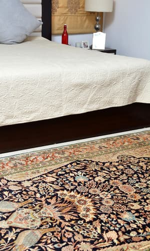New Silk collection, Antique Recreations, Carpets & Rugs, Our Collection, The Carpet Cellar, Superfine Mulberry Silk on cotton<br>1526<br>6.9 Feet X 4.10 Feet , Navy blue, Butter yellow, Beige, Brown, Blue, Peach , 6 Feet 9 Inches X 4 Feet 10 Inches