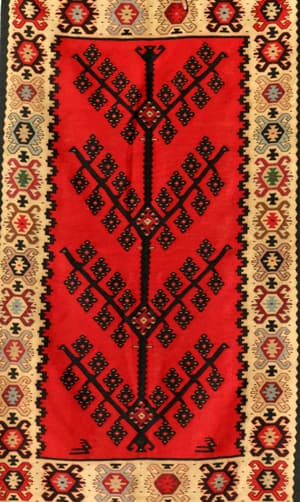 Antique Kilims, Kilims & Durries, Carpets & Rugs, Our Collection, The Carpet Cellar, Kafkash Kilim<br>A-3236<br>5.9 X 3.9 FT , Red,Beige,Black,Olive Green,Ivory , 5.9 X 3.9 FT