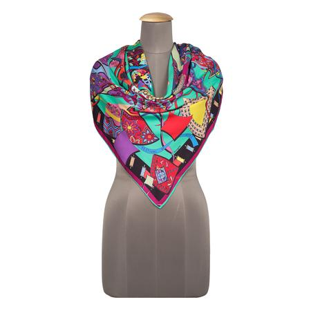 Festivals Of Kites Red Printed Square Scarf