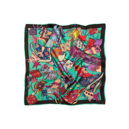Festivals Of Kites Green Printed Pocket Square Poc