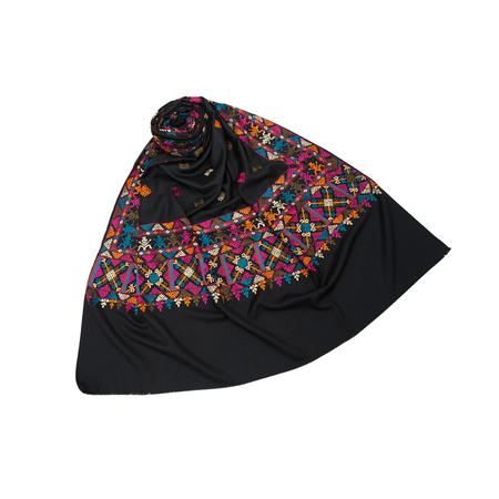 Pop Embroidery Black Shawl