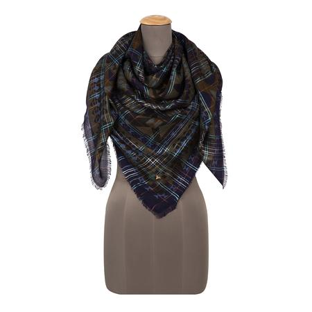 Tie Dye Check Navy Blue Square Scarf
