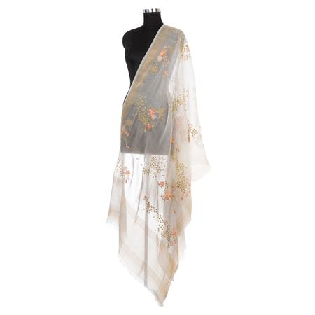 Emboidered Offwhite Dupatta