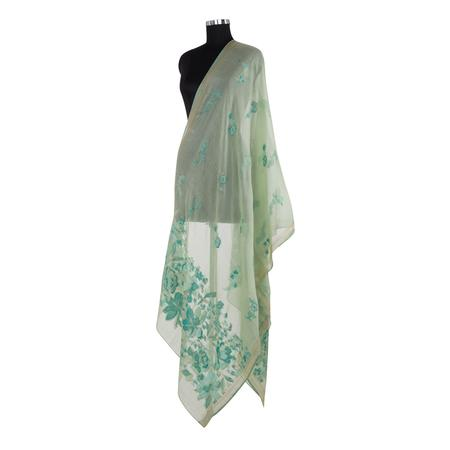 Floral Mesh Sea Green Dupatta