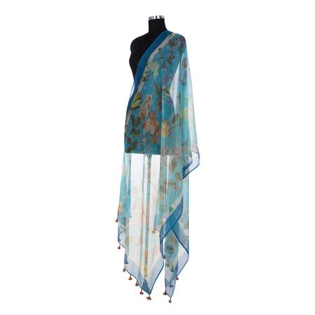 Valley Of Flowers Sky Blue Dupatta