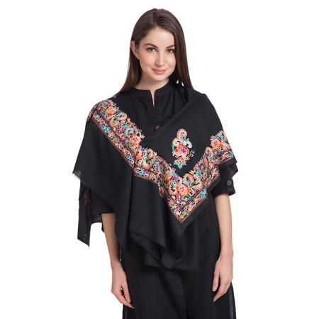 Border Ruby Black Shawl